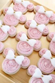 Pink cookies at a Minnie Mouse birthday party! See more party ideas at CatchMyParty.com!