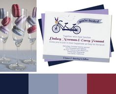 Wine Country Bicycle Wedding Invitation with blue, lavender & red for a vineyard wedding. - Wine Country Occasions, www.winecountryoccasions...
