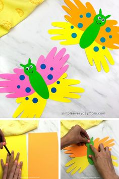This handprint butterfly craft for kids is an easy to make spring activity that's great for preschool, kindergarten and elementary school. Make it at home or in the classroom! for kindergarten Kindergarten Crafts, Daycare Crafts, Classroom Crafts, Butterfly Art And Craft, Handprint Butterfly, Easy Crafts For Kids, Toddler Crafts, Spring Crafts For Preschoolers, Spring Craft Preschool