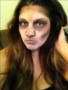 Easy zombie makeup using just white face paint and 3 eyeshadow colors.