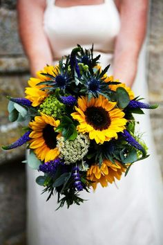 Bold & Beautiful Bridal Bouquet Featuring: Blue Eryngium Thistle, Blue Veronica, Blue Lavender, Bright Yellow Sunflowers, Green Snowball Viburnum, White Queen Anne's Lace, & Green Eucalyptus·····