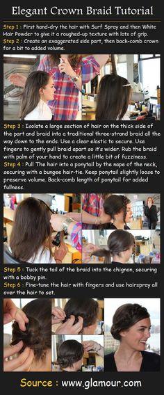 Elegant Crown Braid Hair Tutorial