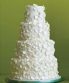 Tiered White Rose Petals Wedding Cake