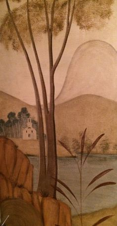 Detail of American Primitive mural painted by CHUCK FISCHER in the style of Rufus Porter.  Twin Farms, VT