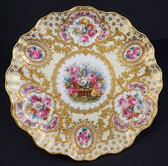 Gorgeous~Antique~Dresden Cabinet Plate~How to describe this plate~The decoration is so amazing it is difficult to begin to describe~The elaborate raised gilding is profuse~It frames the basket of roses in the center and the 6 bunches of roses that surround the center~The decoration is mesmerizing~Produced in Germany by the Franziska Hirsch Dresden studio Circa 1890s