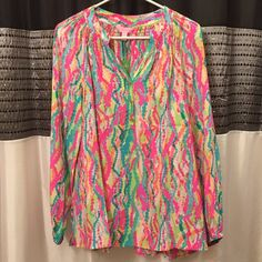 NWT Dripping in Jewels Elsa - Lilly Pulitzer NWT. The top button looks a little funky...like maybe it wasn't stitched on properly. See pictures above. I haven't worn this so it must have come that way. Cross posted. Will take lower on ️️! Lilly Pulitzer Tops Blouses