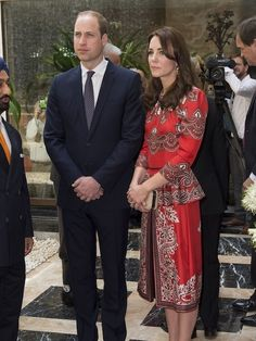 For her first official engagement of the royal visit to India and Bhutan, the Duchess opted for a custom-made dress by Alexander McQueen, featuring an eye-catching print and peplum detailing