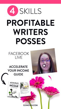 Do you want to know what profitable freelance writers posses? The skills they have helps them get freelance writing jobs and freelance writing tips to help them make a living as a writer and work from home. Learn these skills on my Facebook Live video and make sure to download your FREE guide on how to Accelerate Your Freelance Writing Income in 7 Easy Steps