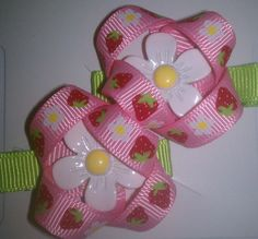 Strawberry Shortcake Hair Clips with Daisys by HaleysBows on Etsy, $6.00