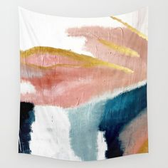 Buy Exhale: a pretty, minimal, acrylic piece in pinks, blues, and gold Wall Tapestry by blushingbrushstudio. Worldwide shipping available at Society6.com. Just one of millions of high quality products available.