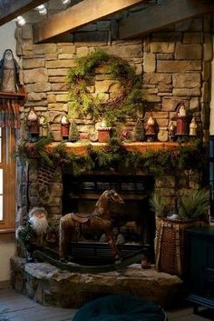 A Whole Bunch Of Christmas Mantels 2013 - Christmas Decorating - Just like this. It makes me want to be in the mountains. by regina