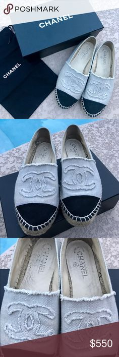 Chanel espadrilles 100% AUTH linen espadrilles size 39. This will fit a size 8. Please don't buy if you're a 9 size runs small. Original box and dust bag. Signs of wear, see photos. Sold out everywhere CHANEL Shoes Espadrilles