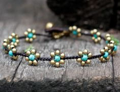 Turquoise Flower Brass Anklet by brasslady on Etsy