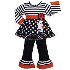 AnnLoren Girls' Halloween Stripe and Dot Ghost Outfit | Overstock.com Shopping - The Best Deals on Girls' Sets