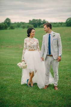 Lace crop top and tulle skirt two piece wedding dress: Photography: Erin Jean Photo - http://erinjeanphoto.com/