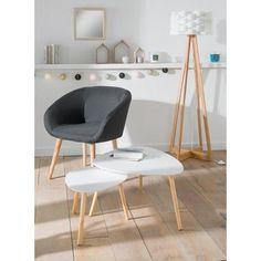 Table gigogne - 71 x 63,5 x H 35 cm et 54,5 x 45 x H 30 cm - Blanc -  Meubles de salon c774debe171a