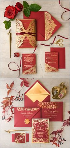 Gold and red fall wedding invitations #redwedding #goldwedding