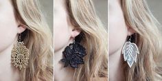 DIY cute lace applique earrings.
