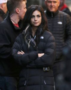 Pin for Later: Check Out Ryan Reynolds in Costume on the Set of Deadpool  Morena Baccarin bundled up on the set.