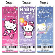 HELLO KITTY BIRTHDAY TICKET INVITATIONS