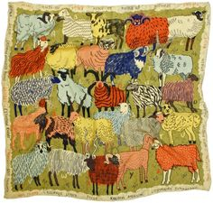 silk scarf depicting an A to Z of rare sheep breeds, designed by US illustrator Caleb Luke Lin - via Kate Davies