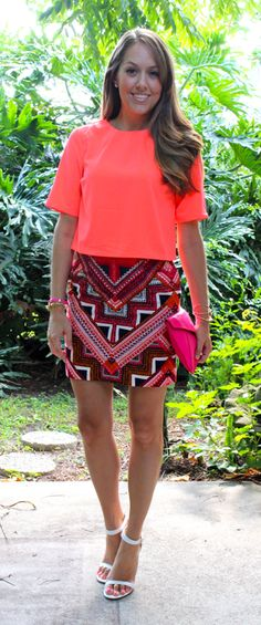 Neon orange top and Target printed skirt