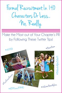 Formal Recruitment in 140 Characters or less.. No, really! Make the Most out of your chapter's PR by following these Twitter Tips! | www.alphadeltapiblog.com