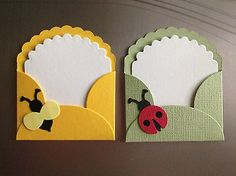 Little lady bug and bumble bee note cards and envelopes. how sweet are these? Diy Crafts For Gifts, Crafts For Kids, Paper Crafts, Handmade Greetings, Greeting Cards Handmade, Tarjetas Diy, Bee Cards, Envelope Art, Candy Cards
