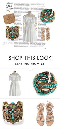 """Pretty white dress"" by luna-nativa ❤ liked on Polyvore featuring Chicwish, Chicnova Fashion, Sweet Romance, Elina Linardaki and ViX"