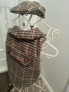 Handmade by Lolabelle .. Tweed Dog Coat and Flat Cap
