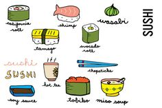 Sushi Doodle Clip Art by Pepper on @creativemarket