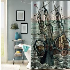 OCTOPUS shower curtain #showercurtain  #showercurtains  #curtain  #curtains  #bath  #bathroom  #funnycurtain  #cutecurtain