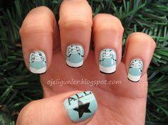 All-Star Converse - Nail Art Get Nails, Hair And Nails, Converse Nail Art, Crazy Nails, Weird Nails, Crazy Nail Designs, Nail Art Photos, Fingernail Designs, Diva Nails