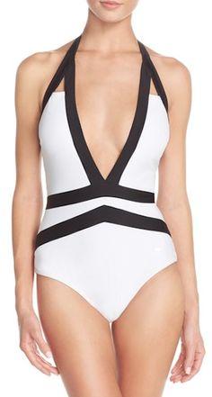 pretty black and white deep v neck swimsuit