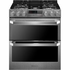 LG SIGNATURE - 7.3 Cu. Ft. Self-Cleaning Slide-In Double Oven Dual Fuel Convection Range - Stainless steel - Front Zoom