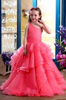 Coral A-Line Floor-Length One-Shoulder Ruffles Flower Girl Dresses Girls Party Prom Pageant Dress First Communion Dresses Girls Dresses Online, Girls Pageant Dresses, Girls Party Dress, Kid Dresses, Formal Dresses, Dress Prom, Dress Online, Dance Dresses, Formal Wear