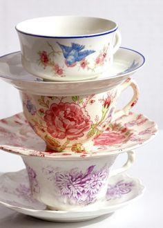 Items similar to morningtime- fine art photograph- vintage tea cups on Etsy Vintage Cups, Vintage Dishes, Vintage Tea, Vintage China, Party Set, Tea Party, Tea Cup Saucer, Tea Cups, Shabby Chic