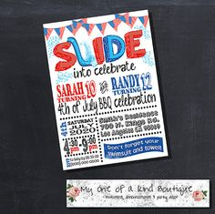 Water slide birthday party invitation summer by myooakboutique