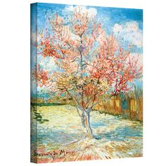 'Pink Peach Tree' by Vincent Van Gogh Painting Print on Canvas