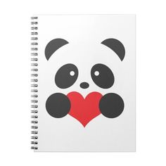 Panda heart notebook (€12) ❤ liked on Polyvore featuring home, home decor, notebook, panda, heart notebook and heart home decor