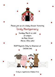 Farm Friends Baby Shower Birthday Invitation Custom Design - Printed Invitations