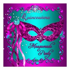 Pink Teal Masquerade Quinceanera Party Personalized Invitations