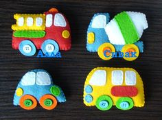 TECHICS felt magnets for kids Fire truck Cars por DevelopingToys Felt Diy, Felt Crafts, Diy And Crafts, Crafts For Kids, Felt Keychain, Felt Books, Felt Decorations, Felt Patterns, Felt Applique