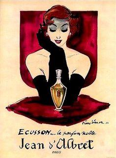 Ad for Ecusson perfume Jean D'Albret, Perfume Vintage, Perfume Ad, Perfume Bottles, Art Deco Posters, Art Graphique, Vintage Advertisements, Vintage Prints, French Vintage, Illustration Art