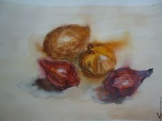 """Купить Акварель """"Овощи"""" - коричневый, натюрморт, натюрморт с овощами, натюрморт акварелью, натюрморт для кухни"""