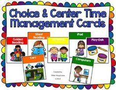 class management cards, free choice, kindergarten centers
