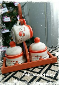 Juegos De Mates Cerámica Artesanal - $ 290,00 Wind Chimes, Tea Time, Decoupage, Tea Cups, Projects To Try, Mugs, Christmas Ornaments, Holiday Decor, Creative