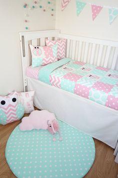 Patchwork quilt nursery set  Pink and mint owls Mint minky