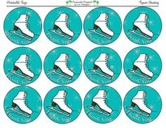 Figure Skating Printable Party Tags Cupcake by PurposelyDesigned