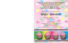 Inside of cupcake themed Baby Shower Invitation